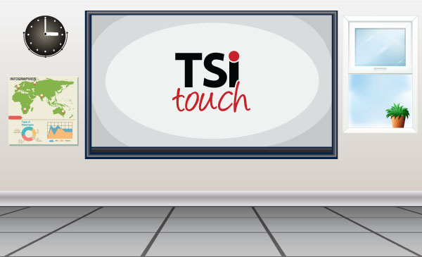 classroom photo with TSItouch logo
