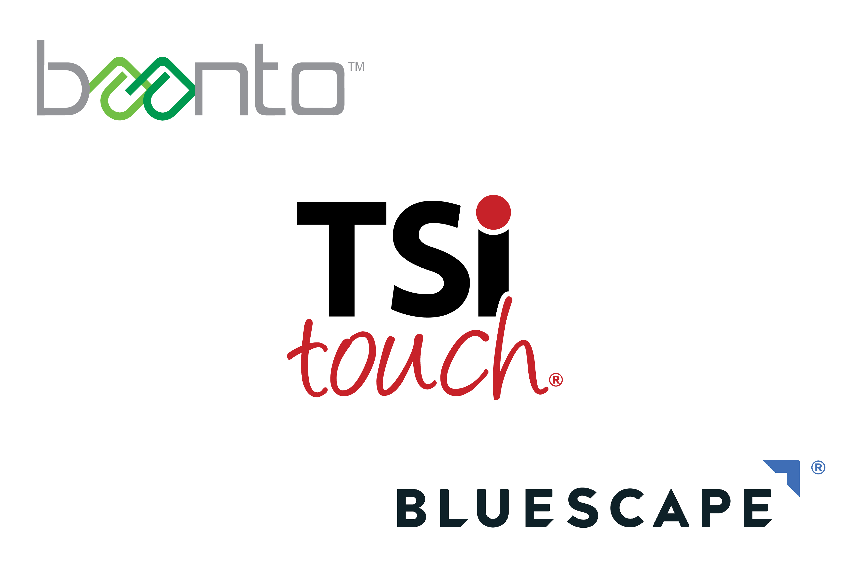 TSItouch, Baanto, and Bluescape logos